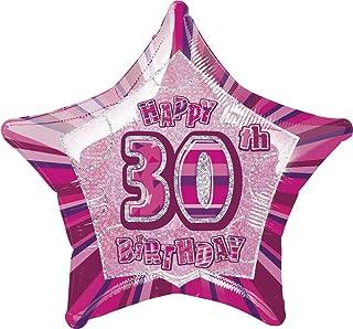 "Unique Party 55109 - 20"" Foil Glitz Pink Happy 30th Birthday Balloon"