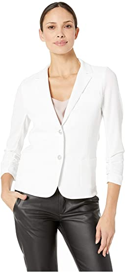 Blank Slate Two-Button Blazer with Ruched Sleeves