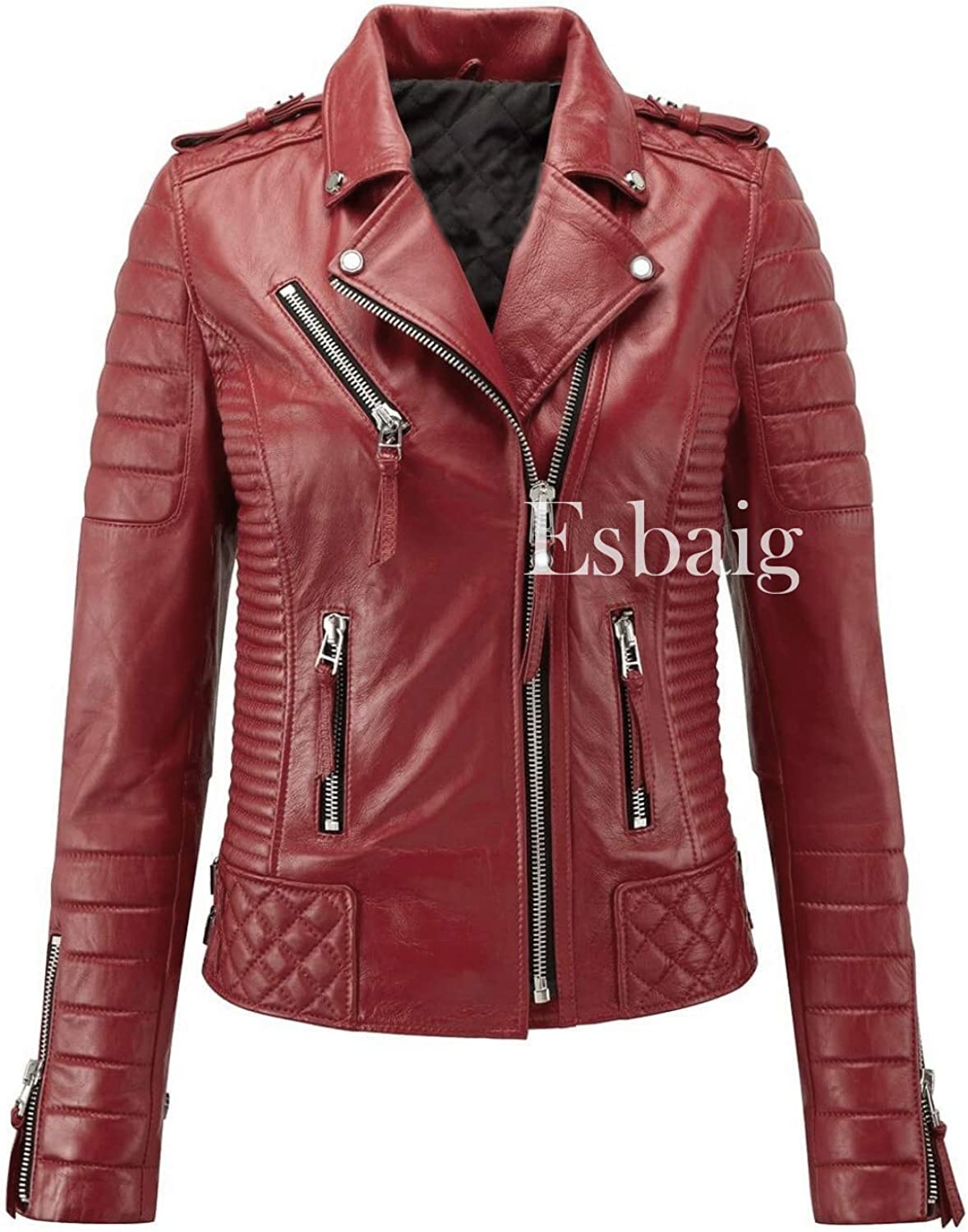 ESBAIG Womens Leather Jackets Stylish Motorcycle Bomber Biker Real Lambskin Leather Jacket for Women 545