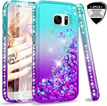 Galaxy S7 Glitter Case with Tempered Glass Screen Protector [2 Pack] for Girls Women, LeYi Bling Sparkle Diamond Liquid TPU Protective Phone Case for Samsung Galaxy S7 Gradient Teal/Purple