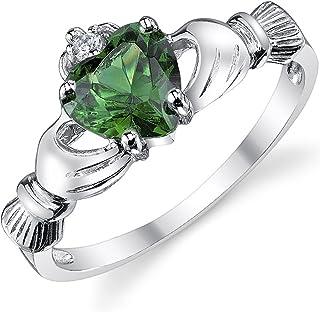 925 纯银爱尔兰克拉达友谊和爱情戒指 仿翡翠*心形方晶锆石