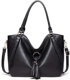 Travistar Handtaschen Damen Tasche Lederhandtasche Groß Umhängetasche Mit Quasten Hobo Bag Schultertasche für Frauen Schule Büro Arbeit & Shopping, Schwarz