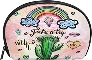 ALAZA Take A Trip Cactus Half Moon Cosmetic Makeup Toiletry Bag Pouch Travel Handy Purse Organizer Bag for Women Girls