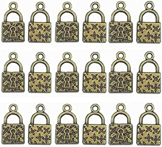 Mystart 50 Pieces Antique Bronze 18x10 mm Small Padlock Pendants Charms for DIY Jewelry Craft Projects