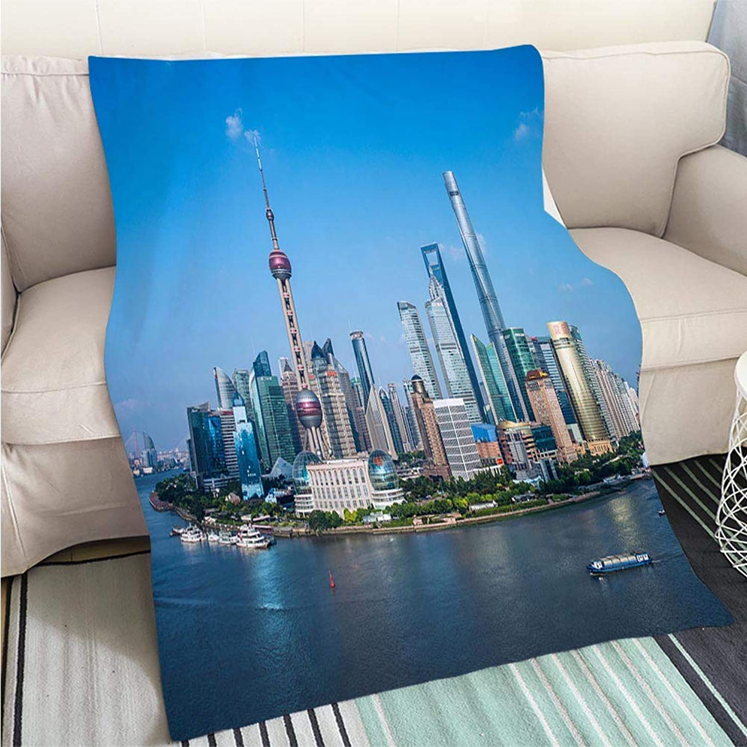 BEICICI Comforter Multicolor Bed or Couch Shanghai Skyscraper Fashion Ultra Cozy Flannel Blanket