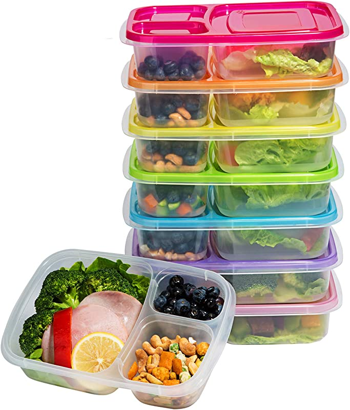Meal Prep Containers 3 Compartment Lunch Boxes Food Storage Containers With Lids BPA Free Plastic Bento Box Set Of 7 Portion Control Divided Cover Reusable