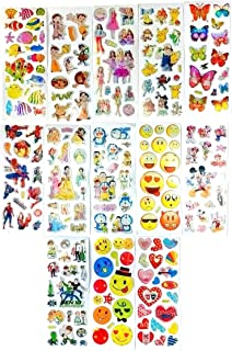 4AJ BAZAAR Different Colours and Cartoon Character Puffy 3D Stickers Mix of Smiley Shining Sticker in Single Page - Pack o...