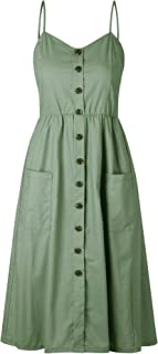 Womens Summer Dresses Casual Spaghetti Strap Button Down Swing Midi Dress with Pockets
