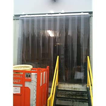 120 in. height width X 96 in. strips with 50/% overlap Hardware included Strip-Curtains.com: Strip Door Curtain 8 ft common door kit 10 ft Blue Weld 8 in