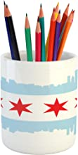 Ambesonne Chicago Skyline Pencil Pen Holder, City of Chicago Flag with High Rise Buildings Scenery National, Ceramic Pencil Pen Holder for Desk Office Accessory, 3.6
