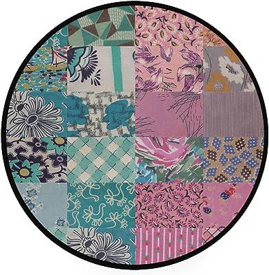 Oyihfvs Vintage Fabrics 1940th Non-Slip Round Area Rug, Floor Carpets Rugs for Outdoor & Indoor, 36.2x36.2 Inches Living Room Bathroom Dorm Doormats, Home Decor