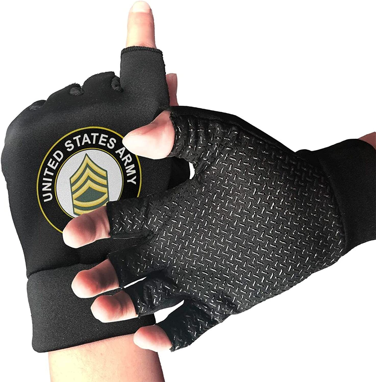 U.S. Army Sergeant Non-Slip Driving Gloves Breathable Sunblock Fingerless Gloves For Women Men