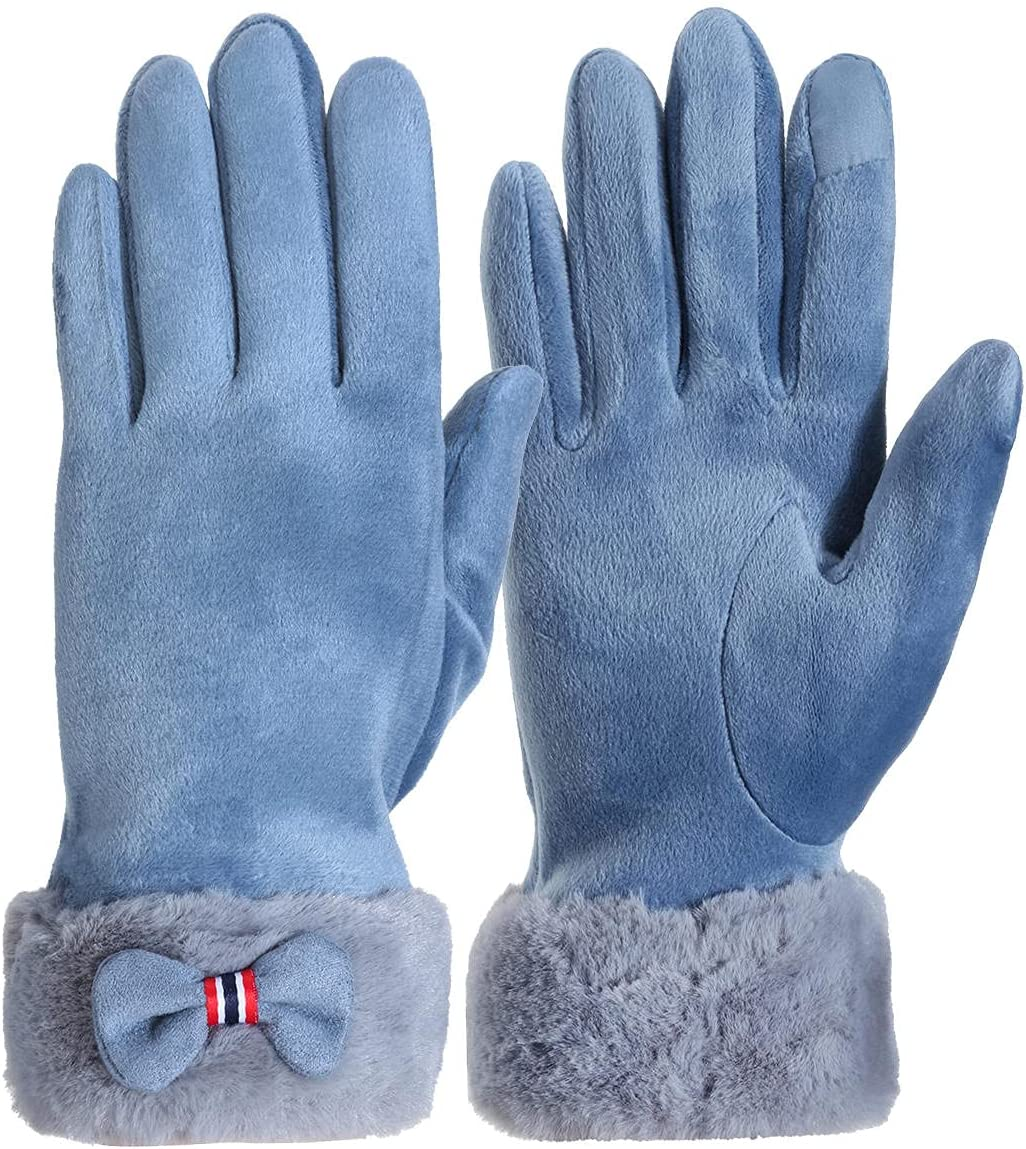 Lupovin-Keep Warm Womens Touch Screen Gloves Winter Windproof Caloric Warm Drive Skiing Full-Finger Gloves Non-Slip (Color : Light Blue)