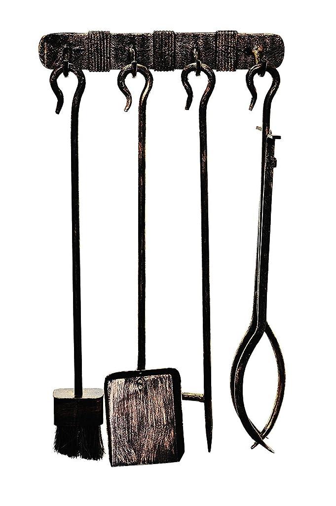 成功するパニック売る暖炉ツールセット(4パーツ)、Wroughtスチール、壁マウント、ヴィンテージ仕上げ、ツール長60?cm