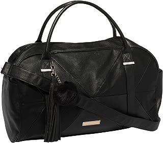 Black Textured Indie Weekender Bag With Mixed Hardware
