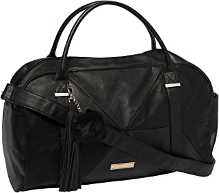 Black Textured Indie Weekender Bag With Mixed Hardware