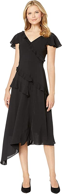 Gauzy Crepe Ruffled Fit and Flare Dress