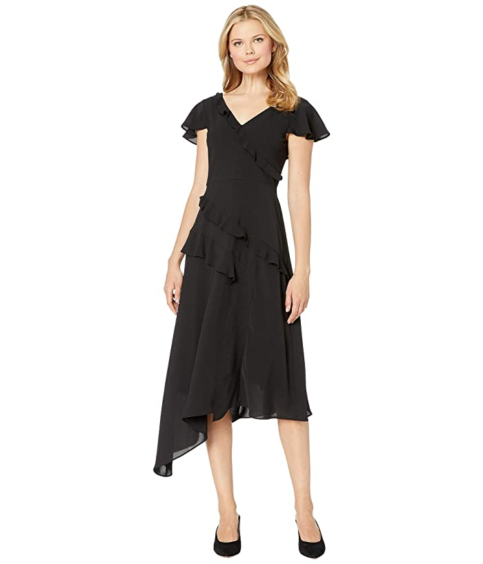 1920s Style Dresses, 20s Dresses Adrianna Papell Gauzy Crepe Ruffled Fit and Flare Dress Black Womens Dress $79.50 AT vintagedancer.com
