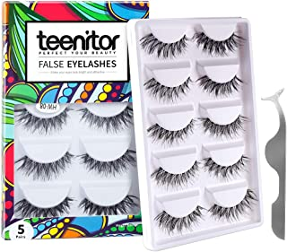 Teenitor 10 Pair Crisscross False Eyelashes Lashes, Nature Looking Fake Eyelashes Set For Women Girls, Comes With Free Fake Eyelash Applicator