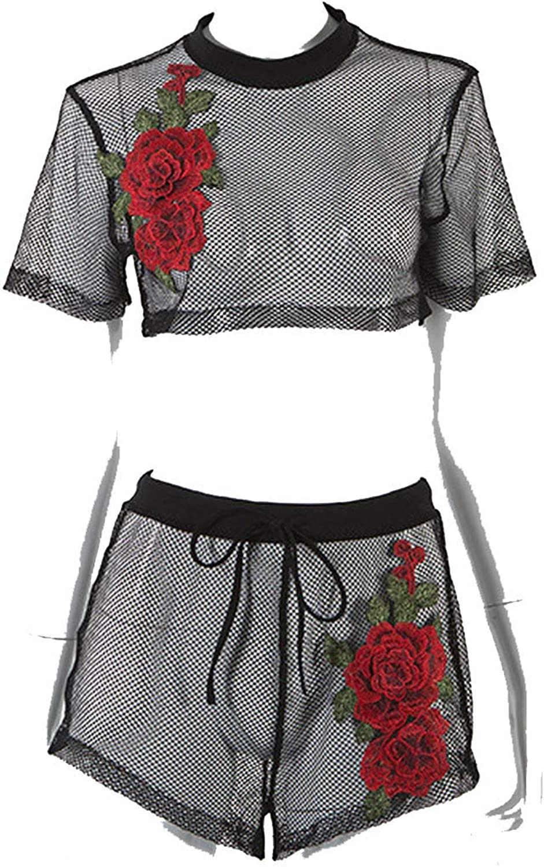 Souieyshoplingerie sets 2018 Autumn Sexy Fishing net Embroidery Flowers Ladies Set