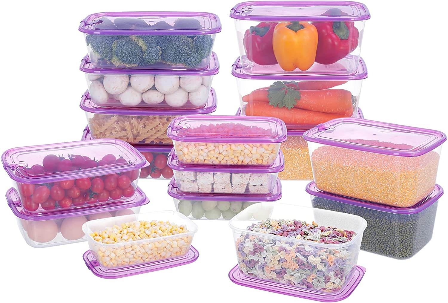 【16 PACK】Large Capacity セール Food Storage Set with 4年保証 Containers Lid