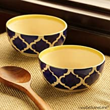 ExclusiveLane 'Mediterranean Bowls' Handpainted Snacks Cereal Rice Bowl Set Cum Dining Table Serving Bowls (Set of 2)