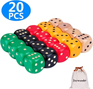 Dice Game Set,Colored Dice Set Poker Dice with Carrying Canvas Bag Casino Dice Game for Kids Adults (5CM/20pcs)