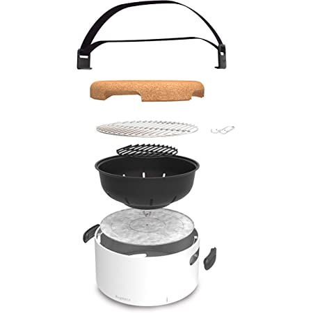 Berghoff 2415600 Studio Portable Tabletop Barbecue with Heat Resitant Base, 35x35x22 cm, White