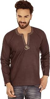 Fashion Shirt Embroidered Mens Short Kurta Cotton India Clothing