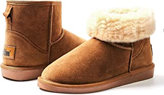 ZGR Women's Classics Winter Snow Boots Cow Suede Leather Mid-Calf Fur Lined Warm Shoes Outdoor Ankle Booties