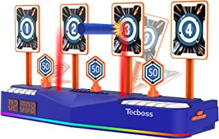 TECBOSS Electronic Shooting Targets Scoring Auto Reset Digital Targets for Nerf Guns Toys - Lights & Sound Effects, 3 Time...
