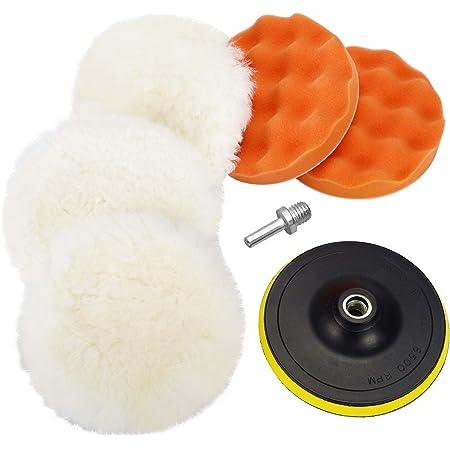 Coceca 7pcs 6 Inch Polishing Pad Kit With Buffing Wheel For Drill ,Sponge and Wool Polishing Pad Set