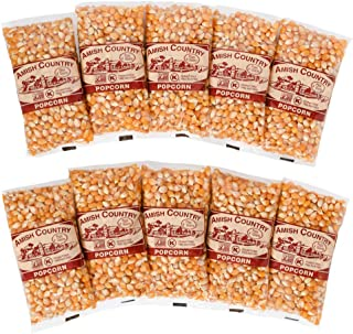 Amish Country Popcorn - 10 (4 Ounce Bags) Mushroom Popcorn - Old Fashioned, Non GMO, Gluten Free, Microwaveable, Stovetop and Air Popper Friendly with Recipe Guide