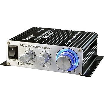 パワーアンプ 25W×2チャンネル 高音質 家庭用 カー アンプ 高低音 小型ステレオアンプ ブラック(12Vアダプター付属 )