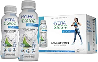 Hydra Coco Sport Original -100% Pure Coconut Water Drink w/Vitamins | Best Natural Sports Drink with Electrolytes to Hydrate | Energy & Recovery | Gluten Free & Non GMO