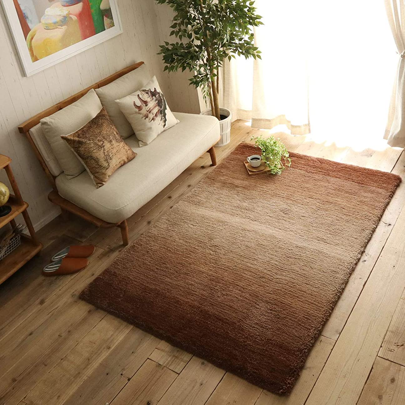 アクセス志すディスクグラムスタイル ラグ ラグマット カーペット グラデーション 床暖 130×190cm ブラウン
