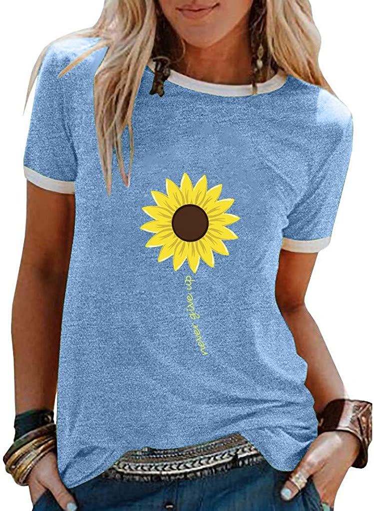 Summer Cheap mail order shopping Special price Tops for Women in a World Gr Roses Sunflower Full of Be