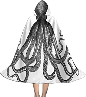 Halloween Costumes 3D Paper Flower Art Hooded Witch Wizard Cloak for Womens Mens Kids