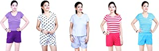 MUKHAKSH (Pack of 5 Sets) Women's/Girls/Ladies Hot Soft Cotton Short + T Shirt Set for Lounge Wear/Night Wear Prints May Vary (Short Free Size 28 to 38 Waist) (T Shirt Stretchable Upto XL)