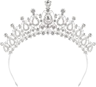 Houseables Tiara Headband, Rhinestone Birthday Crown, 2.5 Inches Tall, 6.5x 6, Metal Alloy, Bride Tiaras, Crystal Crowns, Girls, Princess, Queen, Pageant Tiara, Quinceanera Corona, Bride