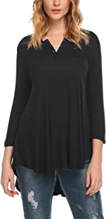 Hotouch Flowy Tops for Women 3/4 Sleeve Scoop Neck with Button Plus Casual Loose Fit Tunic Shirts