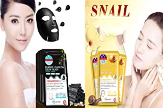 drdong-Facial Mask Combo,Bamboo Charcoal Clean Black Facial Mask (10 pack), Snail Multi Effect Bright Skin Facial Mask (10 pack)