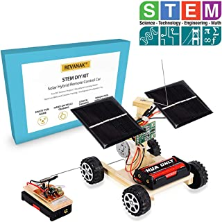 Revanak STEM Building Kits Toys Wooden Solar and Wireless Remote Control Car - Hybird Power for Electric Motor-Robotics Creative Engineering Circuit Science Experiment Toys for Kids, Teens and Adults