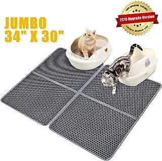 """laamei Cat Litter Mat Litter Trapper, Large Jumbo Waterproof Double-Layer Cat Mats for Litter Box Foldable Non-Slip EVA Pets Cat Litter Mat Catcher 34"""" 30"""""""