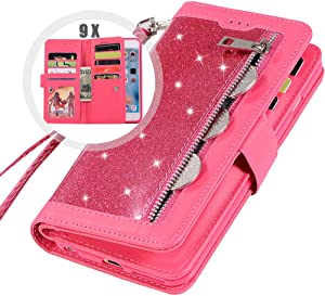 iPhone 8 Bling Wallet Case for Women,Auker Trifold 9 Card Holder Folio Flip Glitter Leather Folding Stand Magnetic Wallet Purse Case with Strap&Zipper Coin Change Money Pocket for iPhone 7 (Rose)