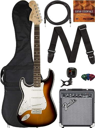 Fender Squier Affinity Stratocaster, Left Handed - Brown Sunburst Bundle with Frontman 10G Amplifier, Gig Bag, Instru...