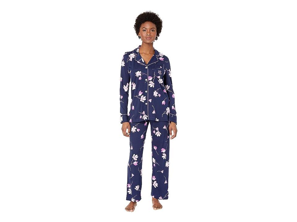 LAUREN Ralph Lauren Petite Knit Notch Collar Pajama Set (Navy Floral) Women