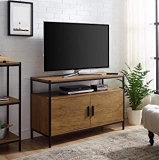 Entertainment Center TV Media Stand by CAFFOZ Furniture Designs | with Two Doors and Storage Shelves | Sturdy | Easy Assembly | Brown Oak Wood Look Accent Furniture with Metal Frame