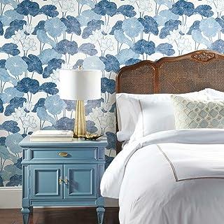 Roommates RMK11448WP Blue Lily Pad Peel and Stick Wallpaper