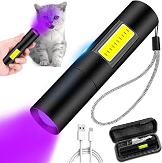 Wood's lamp,cat Ringworm Detector,Pet Urine Detector Rechargeable with Side Lights UV Black Light,for Pet Dog Cat Care